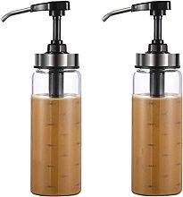 OMVOVSO 2 Piece Sauces Pump Dispenser, Glass