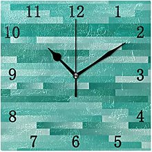 One Bear Vintage Teal Square Wall Clock