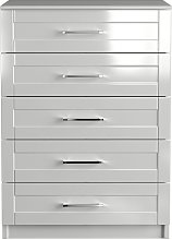 One Call Colby Gloss 5 Drawer Chest of Drawers -