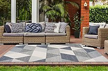 One Couture Outdoor Carpet Balcony Patio Rugs Triangle Geomet Scandi Cream Blue Grey Living Room Rug Dining Room Rug Runner Hallway Runner Size: 160 cm x 230 cm
