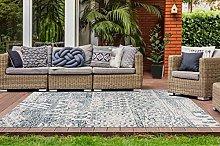 One Couture Outdoor Carpet Patchwork Ethno Design Patio Balcony Rugs Cream Blue - Blue, 120cm x 170cm