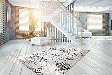 One Couture Shaggy Rug Modern Soft Carpet Ethno Design Fringed Rug White Black - Black, 200cm x 290cm