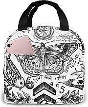 One Direction Tattoos Portable Insulated Lunch Bag