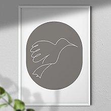 One Line Bird - Wall Art | Bird Art | Grey Wall