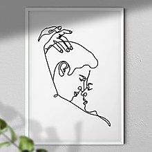 One Line Romantic Couple - Wall Art |Couple Wall