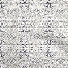 oneOone Cotton Flex Beige Fabric Tribal Geometric