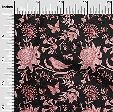 oneOone Cotton Flex Dark Peach Fabric Leaves,Bird