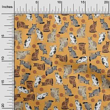 oneOone Cotton Flex Dark Yellow Fabric Cat Animal