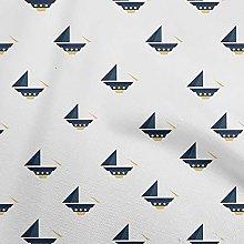 oneOone Cotton Flex Royal Blue Fabric Nautical