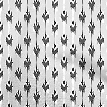 oneOone Georgette Viscose Black Fabric Ikat Ikat