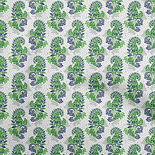 oneOone Georgette Viscose Green Fabric Paisleys