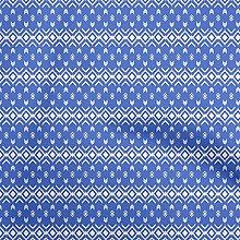 oneOone Georgette Viscose Medium Blue Fabric Ikat