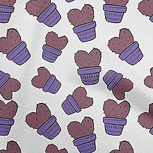oneOone Georgette Viscose Purple Fabric Cactus