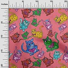 oneOone Rayon Dark Peach Fabric Kitten Cats Animal