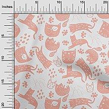 oneOone Rayon Dark Peach Orange Fabric Cat Animal