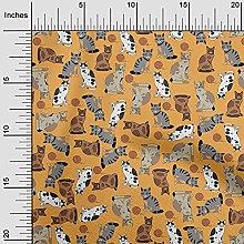 oneOone Rayon Dark Yellow Fabric Cat Animal