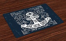 onepicebest Anchor Place Mats Set of 4, Hand Drawn
