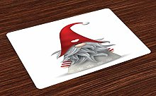 onepicebest Gnome Place Mats Set of 4, Nordic