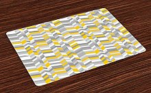 onepicebest Grey and Yellow Place Mats Set of 6,