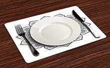 onepicebest Lotus Flower Place Mats Set of 6,