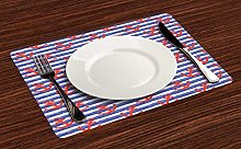 onepicebest Nautical Place Mats Set of 4, Hand