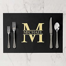 onepicebest Placemats, Washable Black And Gold