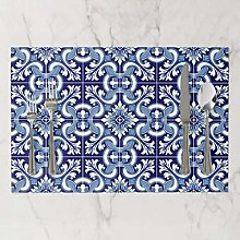 onepicebest Placemats, Washable Portuguese Blue