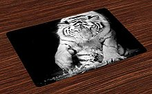 onepicebest Tiger Place Mats Set of 4, Black and