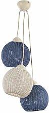 ONLI 3 Light Suspension Lamp, Cream/Blue