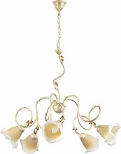 ONLI 5 Light Chandelier in Ivory Gold Plated Metal