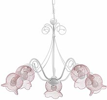 ONLI Mia Chandelier in White and Pink Metal 5