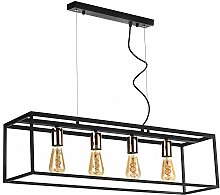 ONLI Suspension Lamp with 4 Lights, Black, Gold