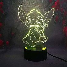Only 1 Cartoon 3D Night Light Stitch Led Illusion