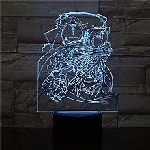 Only 1 pcs Edward Elric Figure USB 3D LED Night