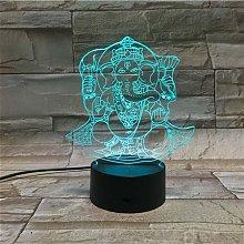 Only 1 pcs Hinduism Ganesha 3D Lamp Powered