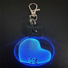 Only 1 Piece 3D Acrylic Night Light Keychain Love