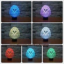Only 1 Piece 3D Cartoon OWL Eagle Head LED Lamp