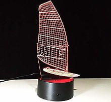 Only 1 Piece 3D Sailing Boat Pattern Lamp LED