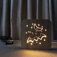Only 1 Piece 3D Vision LED Wooden Night Light USB