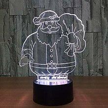 Only 1 Piece Cute Santa Claus Color Lamp 3D Visual