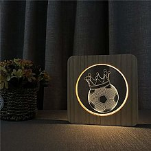 Only 1 Piece Football Crown 3D LED Arylic Night