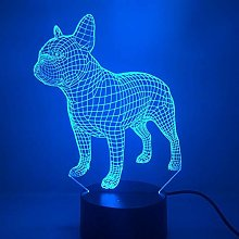 Only 1 Piece France Dog Color Lamp 3D Visual Led