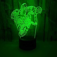Only 1 Piece Motorcycle 3D Small Table Lamp Multi