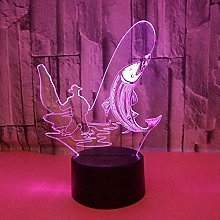 Only 1 Piece New Fishing 3D Nightlight 7color