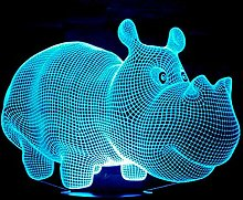 Only 1 Piece New Rhinoceros 3D Desk Lamp with