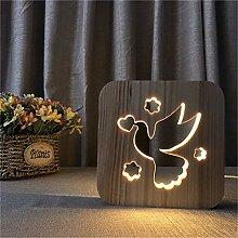 Only 1 Piece Pigeon 3D Night Light Wooden Frame
