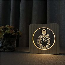 Only 1 Piece Pocket Watch 3D LED Arylic Night Lamp