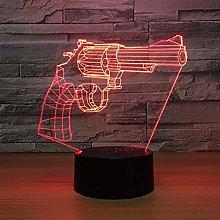 Only 1 Piece Revoer Gun 3D Lamp Led Night Lamp for