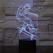 Only 1 Piece Skateboarding Player Figure 3D LED