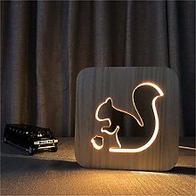 Only 1 Piece Squirrel 3D Wooden DIY Night Light